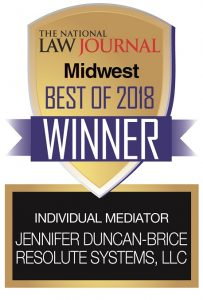 The National Law Journal Midwest Best of 2018 Winner - Individual Mediator Jennifer Duncan-Brice